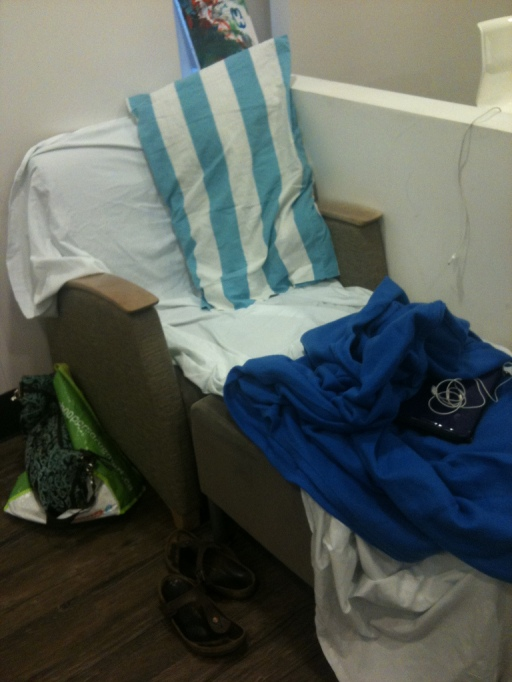 Our home away from home...a comfy chair & footstool in the CICU/CCU parent lounge